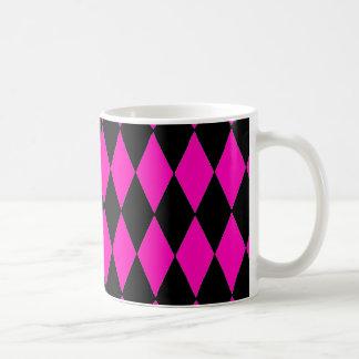 Hot Pink and Black Diamond Harlequin Pattern Basic White Mug