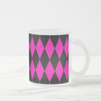 Hot Pink and Black Diamond Harlequin Pattern Frosted Glass Mug