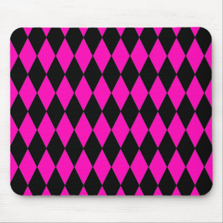 Hot Pink and Black Diamond Harlequin Pattern Mouse Pad