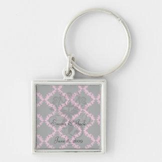 hot pink and black diamond mod damask keychains