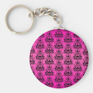 Hot Pink and Black Elegant Damask Print Keychains
