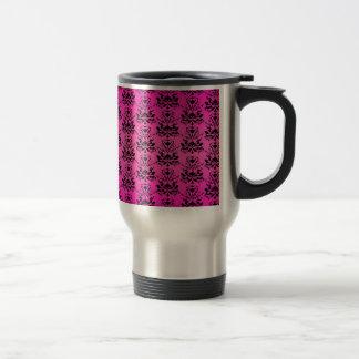 Hot Pink and Black Elegant Damask Print Mug