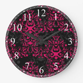 Hot Pink and Black Floral Damask Large Clock