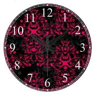 Hot Pink and Black Floral Damask Wallclock