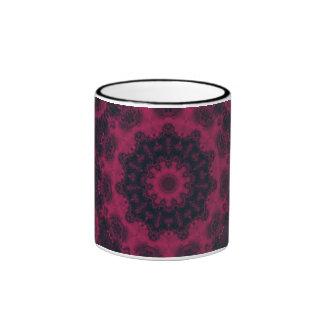 Hot Pink and Black Fractal Kaleidoscope Ringer Mug