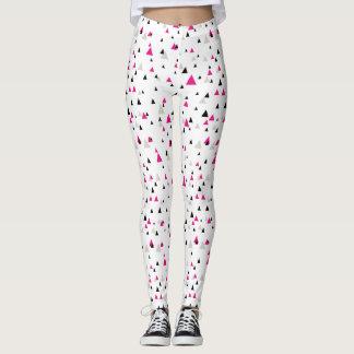 Hot Pink and Black Geometric Triangles Pattern Leggings