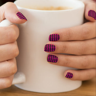 Hot Pink and Black Grid Minx Nail Art