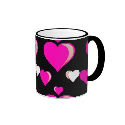Hot Pink and Black Hearts Valentine's Day Love Pat Mug