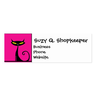 Hot Pink and Black Kitty Cats Collage Business Card Template