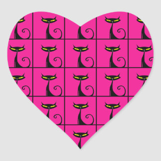 Hot Pink and Black Kitty Cats Collage Heart Sticker