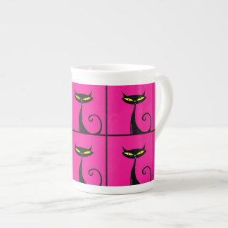 Hot Pink and Black Kitty Cats Collage Bone China Mug