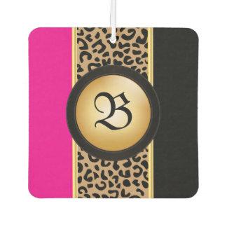 Hot Pink and Black Leopard Animal Print | Monogram Car Air Freshener
