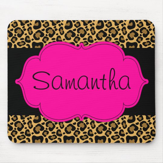 Hot Pink and Black Leopard Personalised Mouse Mat