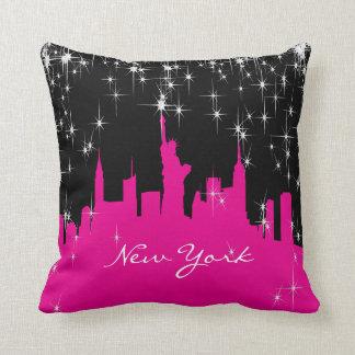 Hot Pink and Black New York Skyline Cushion