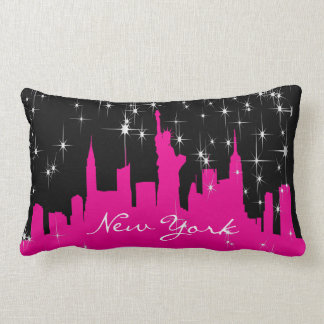 Hot Pink and Black New York Starry Skyline Lumbar Cushion