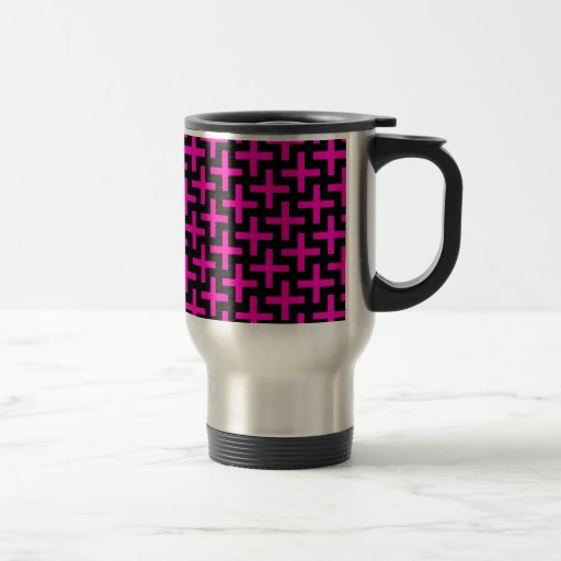 Hot Pink and Black Pattern Crosses Plus Signs Mugs