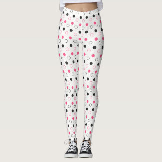 Hot Pink and Black Polka Dot Circles on White Leggings