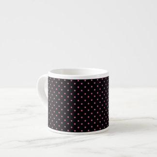 Hot Pink and Black Polka Dots Espresso Mugs