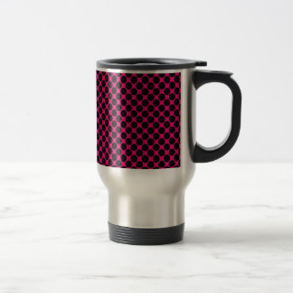 Hot Pink and Black Polka Dots Stainless Steel Travel Mug