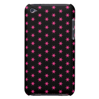 Hot Pink and Black Stars Barely There iPod Cover