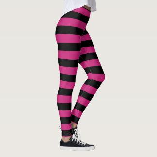 Hot Pink and Black Stripes. Leggings
