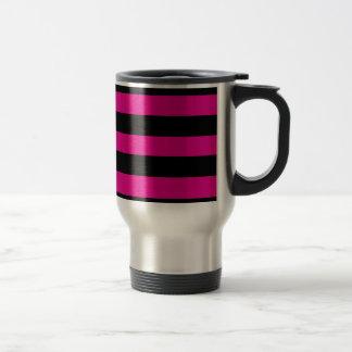 Hot Pink and Black Stripes Coffee Mug