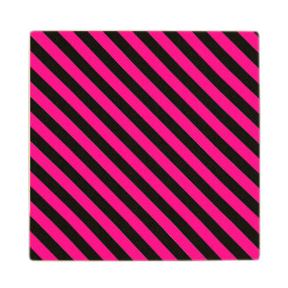 Hot Pink and Black Stripes Wood Coaster
