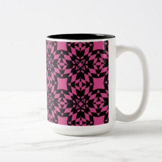 Hot Pink and Black Sunburst Two-Tone Mug
