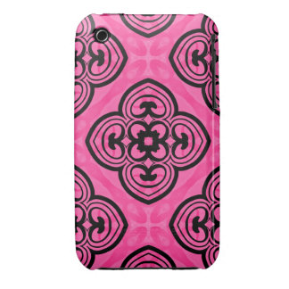 Hot pink and black victorian kaleidoscope decor iPhone 3 covers