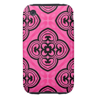 Hot pink and black victorian kaleidoscope decor tough iPhone 3 covers