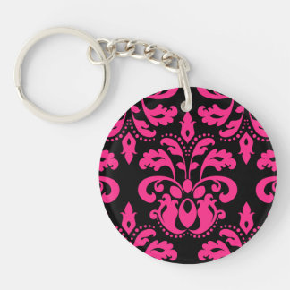 Hot pink and black vintage victorian damask Double-Sided round acrylic key ring