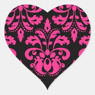 Hot pink and black vintage victorian damask heart heart sticker