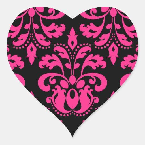 Hot pink and black vintage victorian damask heart sticker