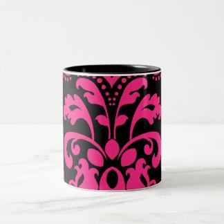 Hot pink and black vintage victorian damask Two-Tone mug