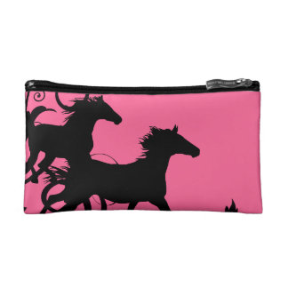Hot Pink and Black Wild Horses Cosmetic Bags