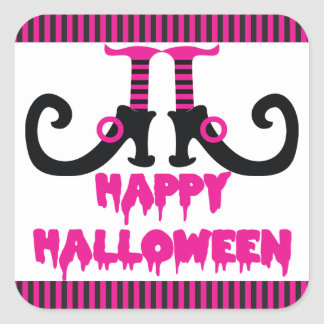 Hot Pink and Black Witch s Shoes Halloween Square Stickers