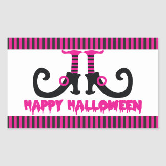 Hot Pink and Black Witch's Shoes Halloween Rectangular Sticker