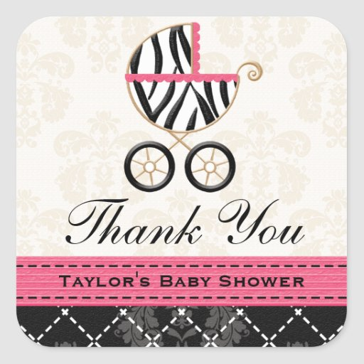 Hot Pink and Black Zebra Baby Carriage Thank You Square Sticker
