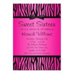 Hot Pink and Black Zebra Bow Sweet 16 Birthday Custom Announcement