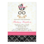 Hot Pink and Black Zebra Carriage Baby Shower 13 Cm X 18 Cm Invitation Card