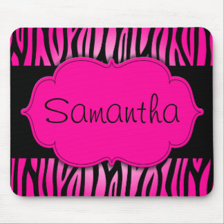 Hot Pink and Black Zebra Personalized Mouse Mat
