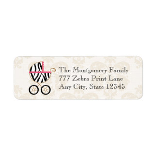 Hot Pink and Black Zebra Print Baby Carriage