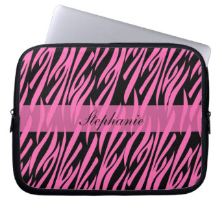 Hot Pink and Black Zebra Print Laptop Sleeve