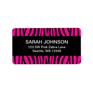 Hot Pink and Black Zebra Return Address Label