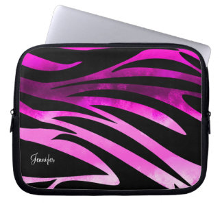 Hot Pink And Black Zebra Striped Pattern Laptop Computer Sleeves