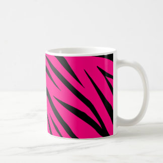 Hot Pink and Black Zebra Stripes Basic White Mug