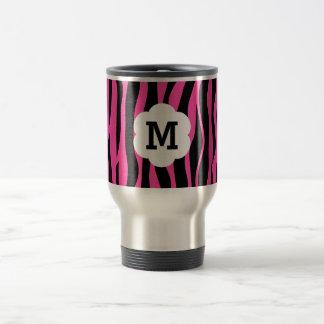 Hot pink and black zebra stripes monogram stainless steel travel mug