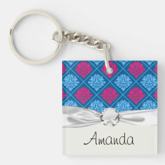 hot pink and blue diamond damask Double-Sided square acrylic key ring