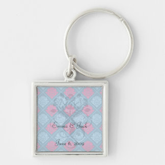 hot pink and blue diamond damask Silver-Colored square key ring