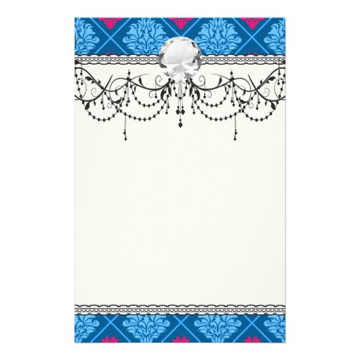 hot pink and blue diamond damask stationery paper
